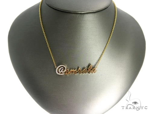 Custom Diamond @name Gold Pendant (Medium)