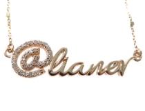 Custom Diamond @name Gold Pendant (Small)