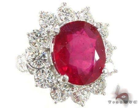 Ruby Flower Ring 3 Anniversary/Fashion