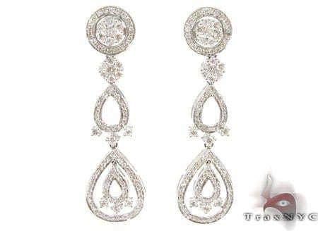 Flower Cluster Chandelier Earrings Stone