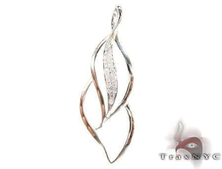 Diamond Leaf Pendant 2 Stone