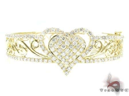 YG Flowers & Hearts Bracelet Diamond