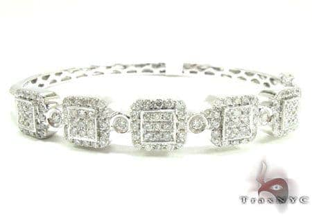 Pave Squares Bangle Bracelet Diamond