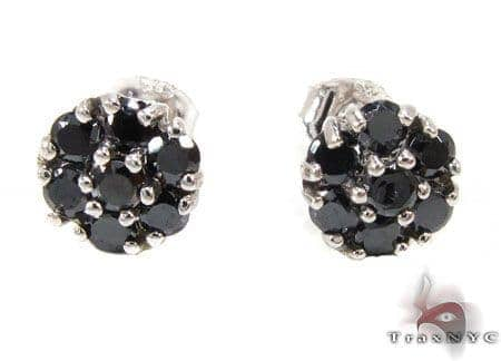 Black Diamond Cluster Earrings Stone