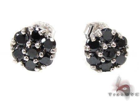 Black Diamond Cluster Earrings 12515 Stone