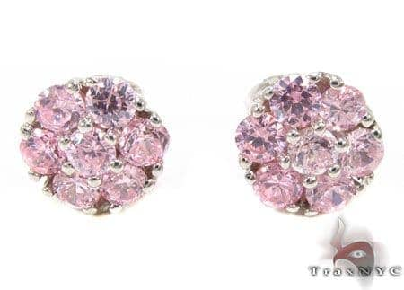 Pink Diamond Cluster Earrings Stone