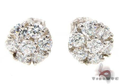 White Diamond Cluster Earrings Stone