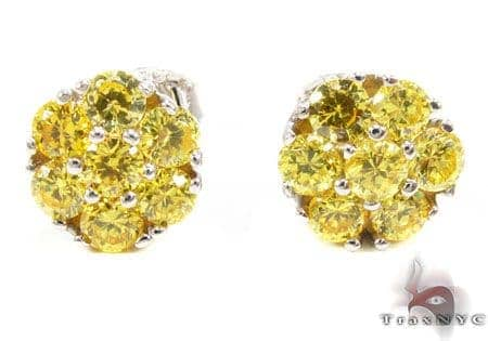 Yellow Diamond Cluster Earrings Stone