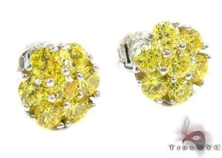 Yellow Diamond Cluster Earrings Stone