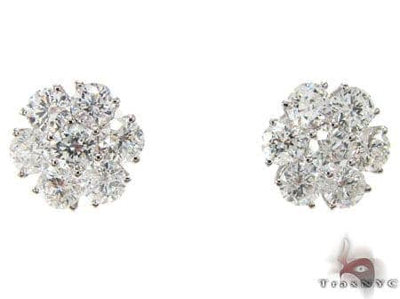 White Gold Cluster Diamond Earrings 2 Stone