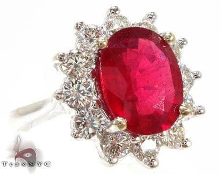 Ruby Flower Ring 5 Anniversary/Fashion