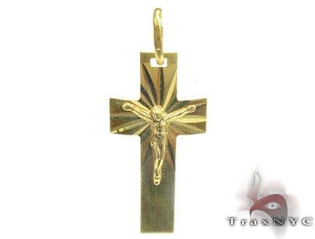 Arrowed Holly Cross Crucifix Gold