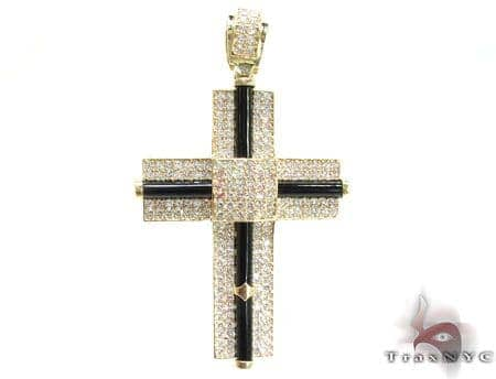CZ and Gold Fury Cross Crucifix 2 Gold