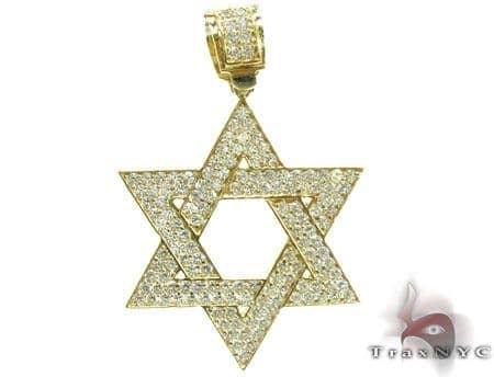 CZ Jewish Star Pendant 2 Metal