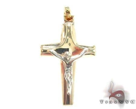 Two Tone Alaskan Cross Crucifix Gold