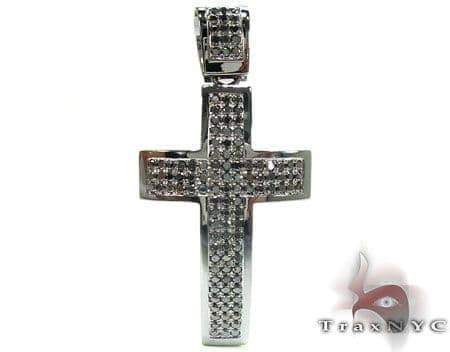 Black Diamond 3 Row Cross Crucifix Diamond