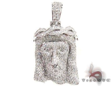 White Gold Urban Jesus Head Pendant Metal