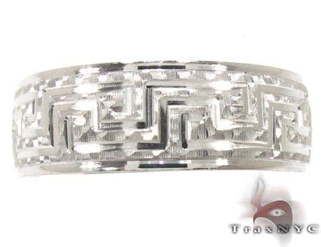Mens Egyptian Design White Gold Wedding Ring Style