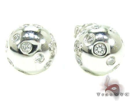 Diamond Ball Earrings Stone