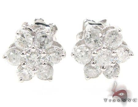 White Gold Medium Flower Cluster Earrings Stone