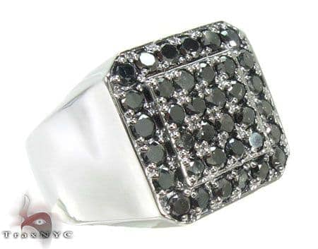TraxNYC Black Diamond 10k White Gold Ring Stone
