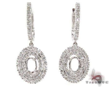 Oval Semi Mount Earrings Stone