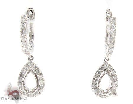 Teardrop Semi Mount Earrings Stone