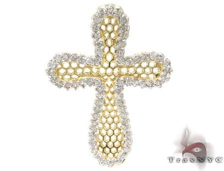 Yellow Cross Crucifix Sterling Silver Pendant Style