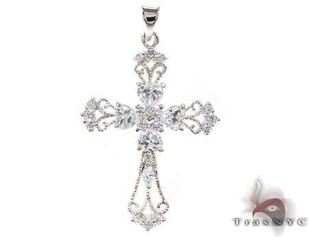 Clear Cross Crucifix Sterling Silver Pendant Style