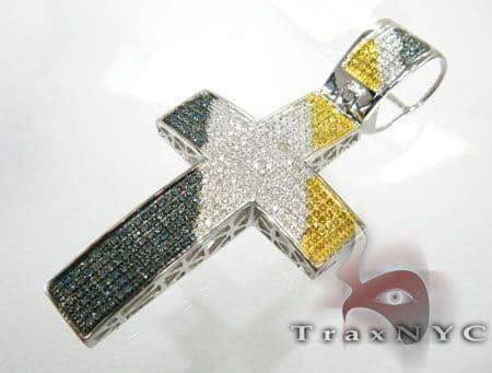 Tri Color Pave Cross Diamond