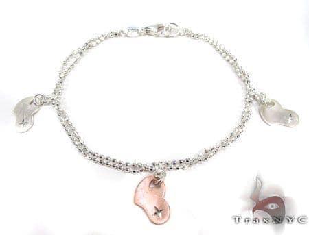 Ladies Silver Heart Charm Bracelet 19609 Silver & Stainless Steel