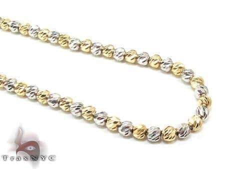 Two Tone Moon Cut Chain 18 Inches 2.5mm 11.8 Grams Gold