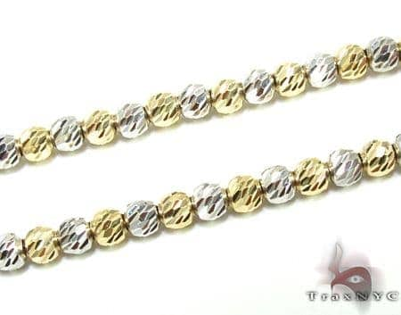 Two Tone Moon Cut Chain 16 Inches 2.5mm 8.1 Grams Gold