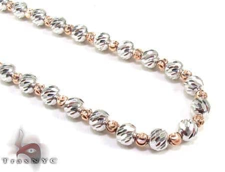 Two Tone Moon Cut Chain 16 Inches 4mm 16.1 Grams Gold