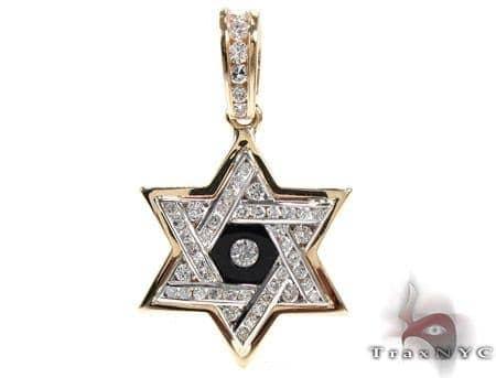 Diamond & Onyx Star of David Pendant Metal