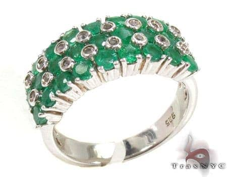 Ladies Silver & Emerald Ring 19969 Anniversary/Fashion