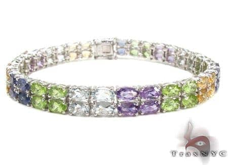 Ladies Silver Gemstone Bracelet 19972 Silver & Stainless Steel