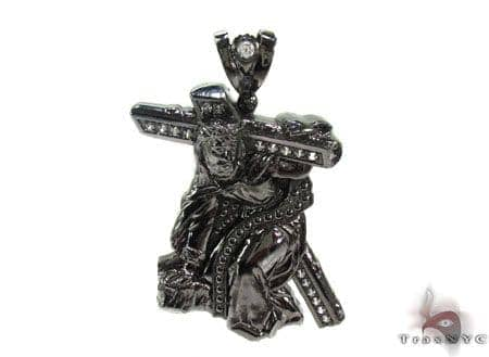 Black Silver Crucifix Crossion Pendant 20237 Metal