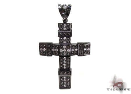 Black Silver Cross Crucifix 20243 Silver