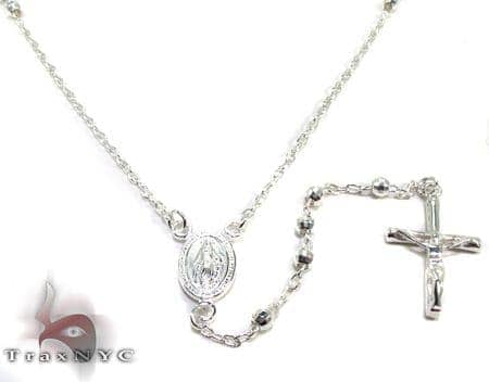Iced Out Silver Rosary 16 Inches 3mm 7.8 Grams Silver