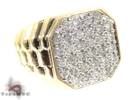 Mens Yellow Gold Diamond Ring 20658 Stone