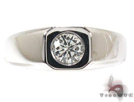 Mens White Gold Bezel Diamond Ring 20912 Style