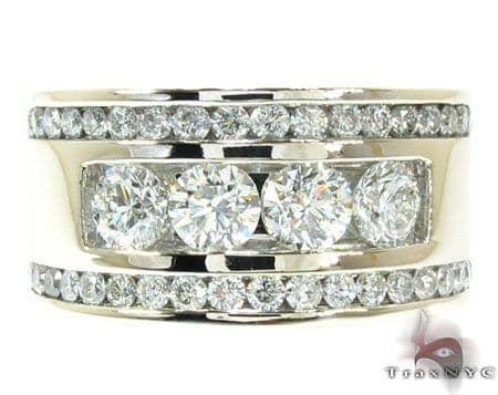 Mens White Gold Channel Diamond Ring 21011 Stone