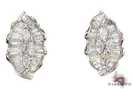 Ladies Marquise Baguette Cut Diamond Earrings 21030 Stone