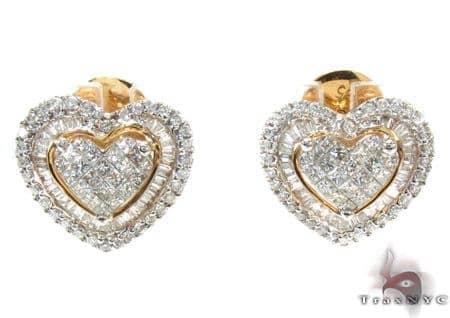 Ladies Yellow Gold Diamond Heart Earrings 21039 Stone