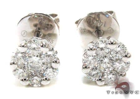 Ladies White Gold Prong Diamond Earrings 21048 Stone