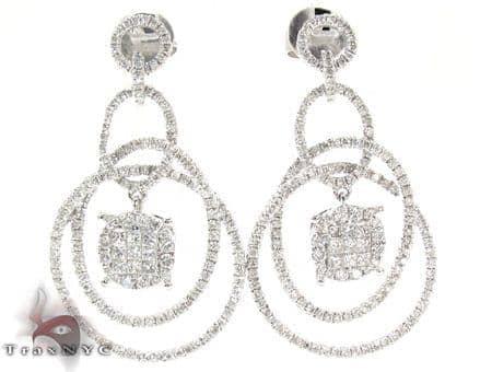 Ladies White Gold Diamond Chandelier Earrings 21147 Stone