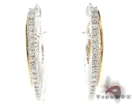 Ladies Two Tone Gold Diamond Earrings 21150 Stone
