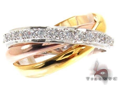 3 Tone Triple Roll CZ Ring 21325 Anniversary/Fashion