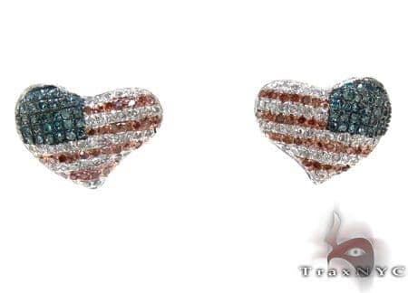 Ladies American Flag Diamond Heart Earrings 21398 Stone